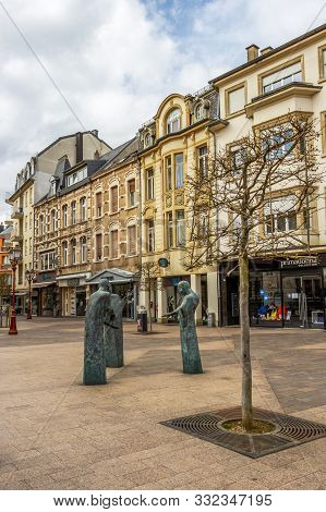 Ettelbruck, Luxembourg - April 03, 2016: Streetscape In Ettelbruck, Canton Of Diekirch Luxembourg Wi