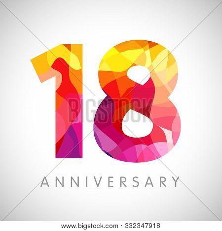 18 Th Anniversary Numbers. 18 Years Old Yellow Coloured Logotype. Age Congrats, Congratulation Idea.