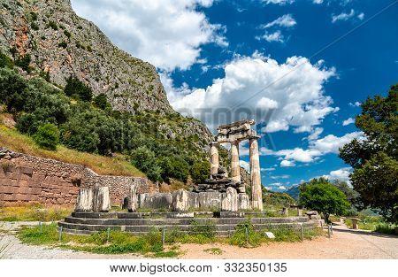 Temple Of Athena Pronaia At Delphi. Unesco World Heritage In Greece