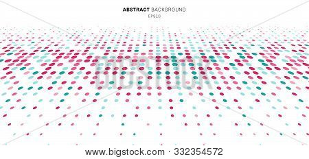 Abstract Technology Futuristic Style Big Data Blue And Pink Geometric Circle Pattern Perspective On