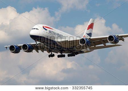 London / United Kingdom - July 14, 2018: British Airways Airbus A380 G-xlej Passenger Plane Landing