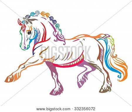 Colorful Decorative Portrait Of Pony Steps In Profile, Training Pony. Vector Isolated Illustration I