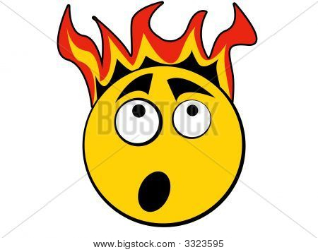 Smiley Icon Scary Of Fire