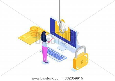Data Phishing Isometric, Hacking Online Scam On Desktop Concept. Fishing By Email. Cyber Thief. Vect