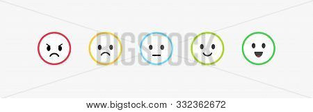 Set Of Vector Emoticons With Different Emotions. Feedback Scale, Customer Review And Assessment Of G