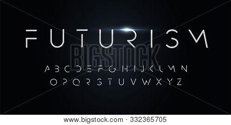 Futurism Style Alphabet. Thin Segment Line Font, Minimalist Type For Modern Futuristic Logo, Elegant