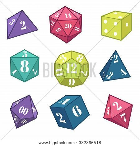 Dice And Polyhedron For Fantasy Rpg, Table Top Games Equipment