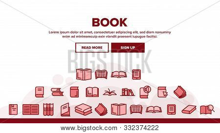Collection Library Book Sign Icons Set Vector Thin Line. Opened And Closed Publishing Book For Educa