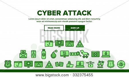 Collection Cyber Attack Elements Icons Set Vector Thin Line. Virus In Email Message And Malware, Inf