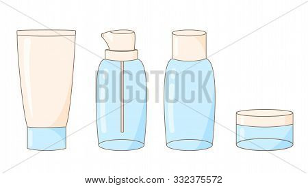 Illustration Of Cute Empty Transparent Tubes Of Bottles For Cosmetics, Creams, Shampoos, Shower Gel,
