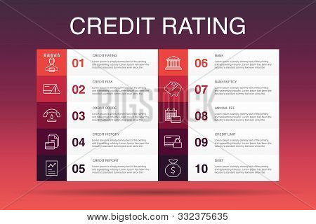 Credit Rating Infographic 10 Option Template.credit Risk, Credit Score, Bankruptcy, Annual Fee Simpl
