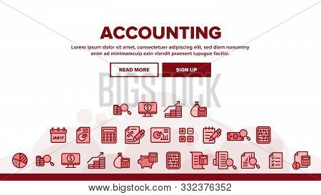 Collection Accounting Elements Vector Icons Set Thin Line. Magnifier With Money Bank Note And Report