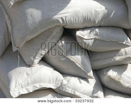 Pile of white sacks