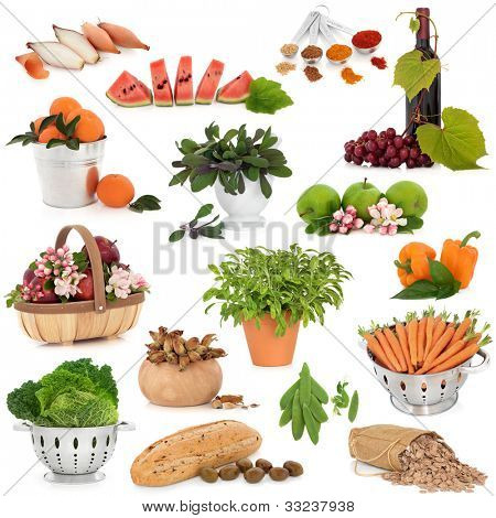 Large collection of healthy food items over white background. High in antioxidants and vitamins.