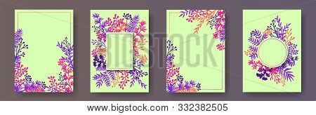 Tropical Herb Twigs, Tree Branches, Flowers Floral Invitation Cards Collection. Herbal Corners Vinta