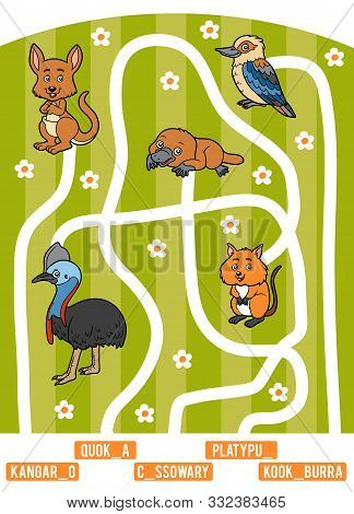 Maze Game For Children. Find The Way From The Picture To Its Title And Add The Missing Letters. Set
