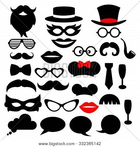 Set Of Photo Booth Props For Party: Mask, Mustache, Beard, Eyeglasses, Hat, Lips, Tobacco Pipe, Mous