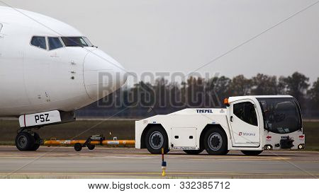 Borispol, Ukraine - October 29, 2019: The Towing Of Ur-psz Ukraine International Airlines Boeing 737