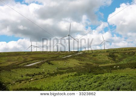 Wind Farm  Carno Contrasting Clouds Uk