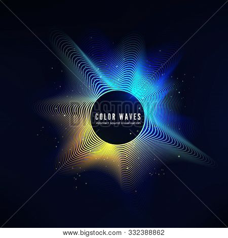 Radial Color Sound Wave Curve With Light Particles. Colorful Equalizer Visualisation. Abstract Color