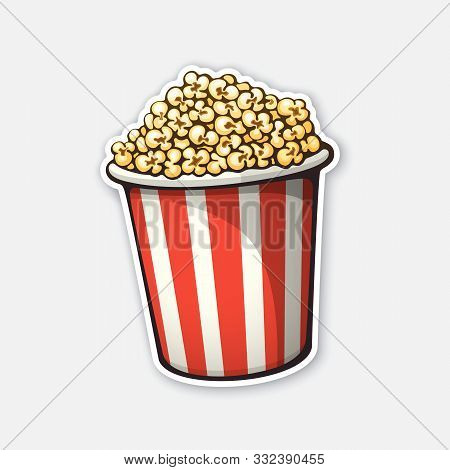 Vector Illustration. Bucket Full Of Popcorn. Red And White Striped Paper Cup. Symbol Of The Film Ind