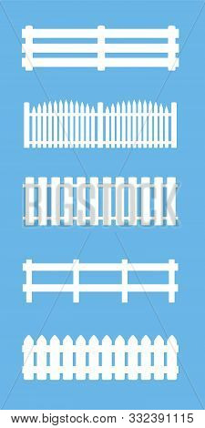 Fences And Railings Set, Different Styles. Isolated Vector Illustration On Blue Background.