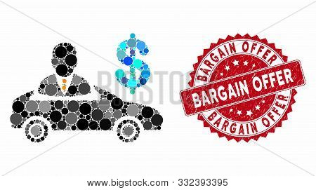 Mosaic Car Seller And Rubber Stamp Seal With Bargain Offer Text. Mosaic Vector Is Created From Car S