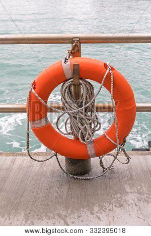Life Preserver Lifebuoy  Ring Buoy At Sea Coast