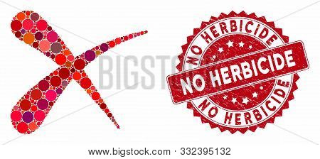 Collage Erase And Grunge Stamp Seal With No Herbicide Text. Mosaic Vector Is Designed With Erase Ico