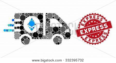 Mosaic Ethereum Express Car And Corroded Stamp Watermark With Express Text. Mosaic Vector Is Created