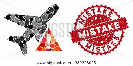 Mosaic Airplane Error And Corroded Stamp Seal With Mistake Caption. Mosaic Vector Is Designed With A