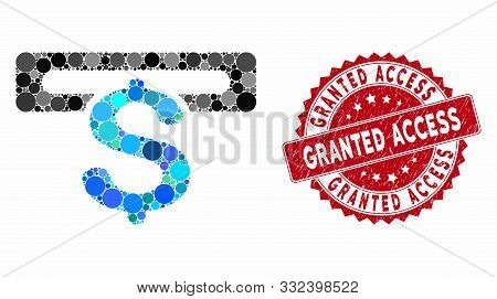 Mosaic Banking Machine And Distressed Stamp Seal With Granted Access Phrase. Mosaic Vector Is Design