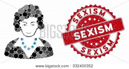 Mosaic Brunette Lady And Grunge Stamp Watermark With Sexism Text. Mosaic Vector Is Created With Brun