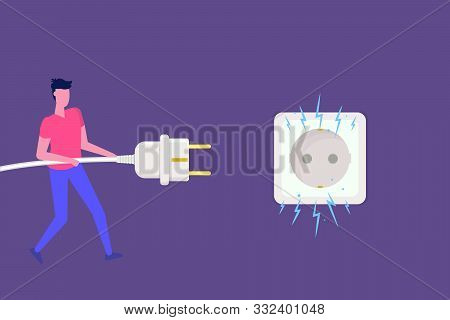 Man Disconnecting Plug With Electricity Spark. Bug 404. Vector Illustration In Flat Style
