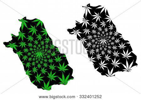 Fars Province (provinces Of Iran, Islamic Republic Of Iran, Persia) Map Is Designed Cannabis Leaf Gr