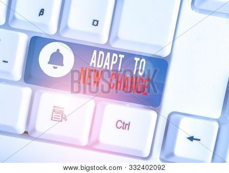 Text sign showing Adapt To New Change. Conceptual photo Get Used to Latest Mindset and Behavior Innovation White pc keyboard with empty note paper above white background key copy space. poster