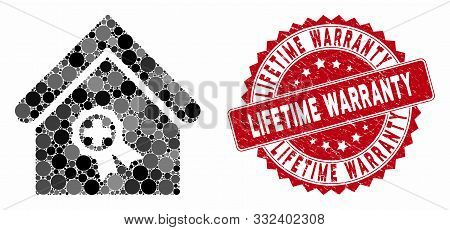 Mosaic Certified Clinic Building And Rubber Stamp Seal With Lifetime Warranty Phrase. Mosaic Vector