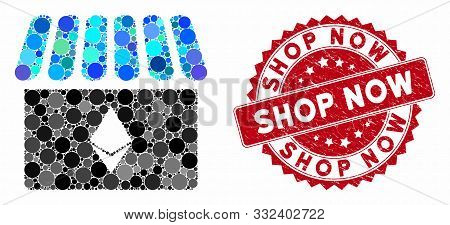 Mosaic Ethereum Store And Rubber Stamp Watermark With Shop Now Phrase. Mosaic Vector Is Designed Wit