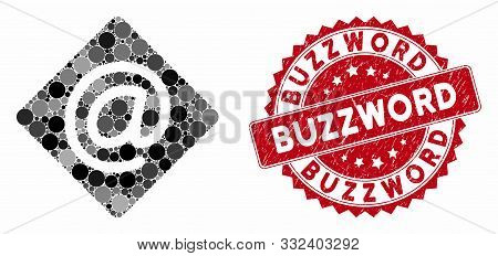 Mosaic Email And Rubber Stamp Seal With Buzzword Text. Mosaic Vector Is Formed With Email Icon And W