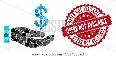 Mosaic Earnings Hand And Grunge Stamp Watermark With Offer Not Available Phrase. Mosaic Vector Is Co