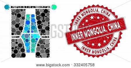Mosaic Interior Curtains And Corroded Stamp Seal With Inner Mongolia, China Phrase. Mosaic Vector Is