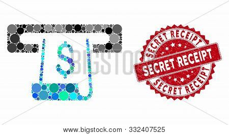Mosaic Paper Receipt Slot And Rubber Stamp Seal With Secret Receipt Caption. Mosaic Vector Is Create