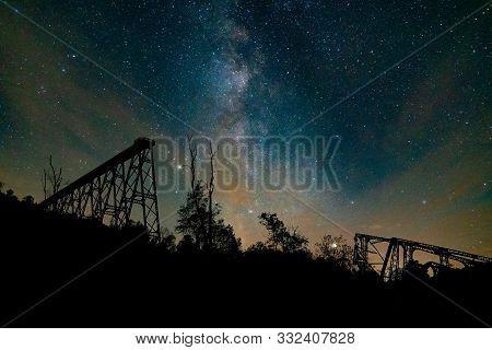 Kinzua Skywalk Under The Milkyway At The Kinzua Bridge State Park In Pennsylvania