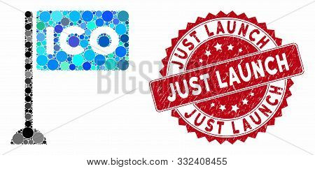 Collage Ico Rectangle Flag And Rubber Stamp Seal With Just Launch Text. Mosaic Vector Is Formed With