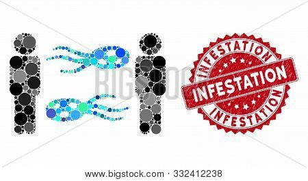 Mosaic Persons Exchange Microbes And Distressed Stamp Watermark With Infestation Caption. Mosaic Vec