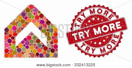 Mosaic More And Rubber Stamp Seal With Try More Phrase. Mosaic Vector Is Composed With More Icon And