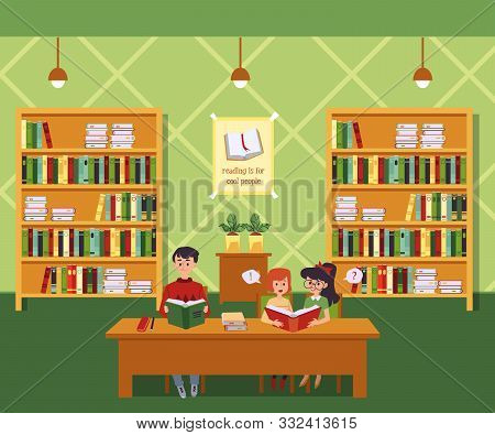 Children In Library On Interior With Bookshelves Background Flat Illustration.