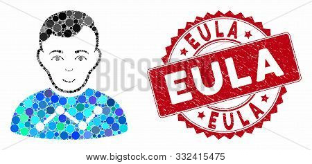 Mosaic User Stats And Grunge Stamp Seal With Eula Text. Mosaic Vector Is Composed With User Stats Ic