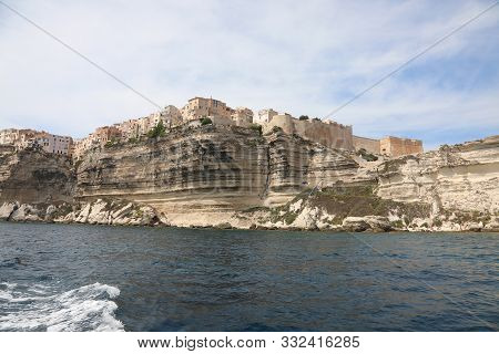 Houses On The Coast Of Bonifacio City In Corsica Island France In Europe