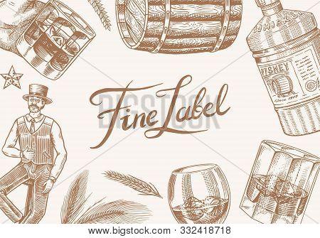 Vintage Whiskey Banner. Strong Alcohol Drink Background. Glass Bottle, Wooden Barrel, Scotch And Bou